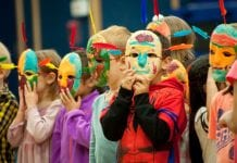 Kindergarten students don masks they made during Culture Week, an annual program held through a joint community partnership with the Native Village of Eyak and the Cordova School District Oct. 2 though Oct. 5. Photo by Cinthia Gibbens-Stimson/The Cordova Times